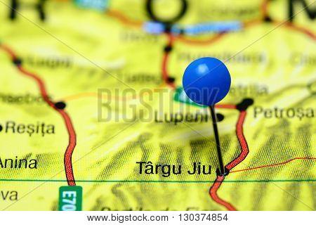 Targu Jiu pinned on a map of Romania