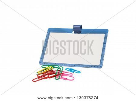 plastic badge isolated on a white background