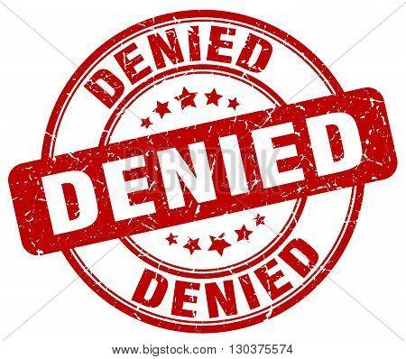 denied red grunge round vintage rubber stamp