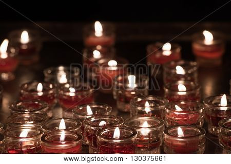 Church Red Votive Candles White Flames