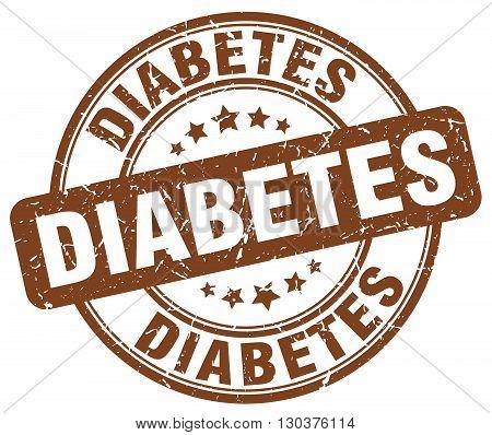 diabetes brown grunge round vintage rubber stamp