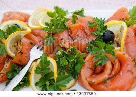 fillet of red fish with slices of lemon and greens