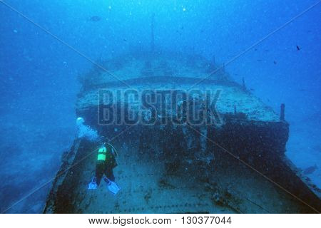 Ship Wreck In Maldives Indian Ocean