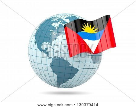 Globe With Flag Of Antigua And Barbuda