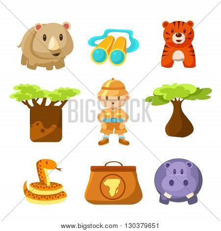 Boy African Explorer Cute Childish Style Bright Color Design Icons Isolated On White Background