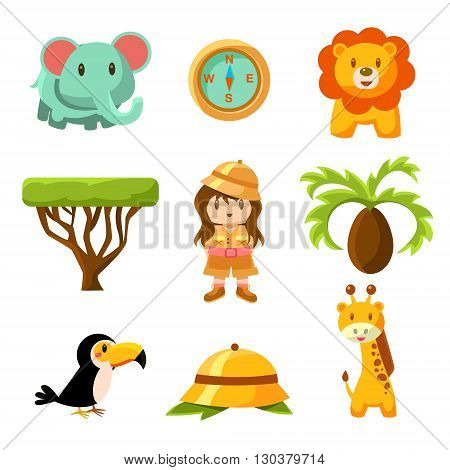 Girl African Explorer Cute Childish Style Bright Color Design Icons Isolated On White Background