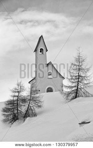 Small Mountain Church In Snow Background Winter Time