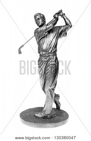 Silver golfer statue isolated on white with clipping path.