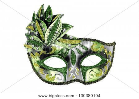 Carnival Venetian mask isolated on white background.