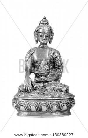 Silver Buddha statue isolated on white