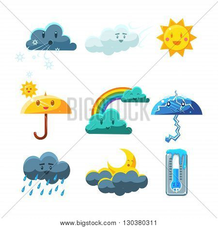 Weather Forecast Elements Set Of Cute Childish Style Bright Color Design Icons Isolated On White Background