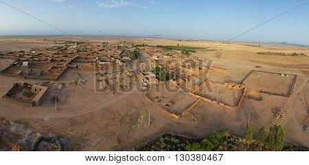 Aerial Sky View Of Settlement Near Marrakech Maroc Taken From Balloon