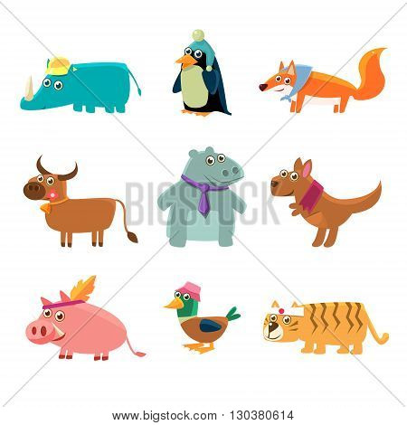 Animals In Human Clothes Set Of Cute Childish Style Bright Color Design Icons Isolated On White Background