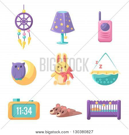 Baby Bedroom Elements Set Of Cute Childish Style Light Color Design Icons Isolated On White Background