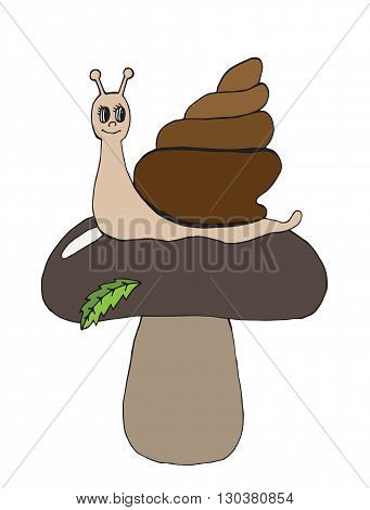 Beautiful brown mushroom with green leaves and happy snail cartoon. Vector illustration of snail can be used to design for T-shirt card poster invitation.