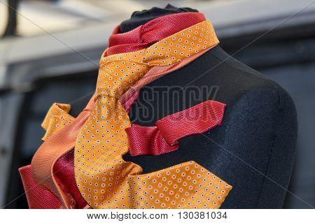 Italian Made Silk Tie On Display Stand