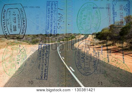 Passport visa on Australia scenic destination scene