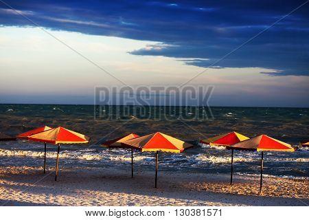 Empty Beach In Bad Weather