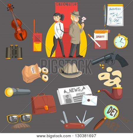 Detectives And Their Equipment Objects Set Flat Simple Geometric Design Vector Illustration