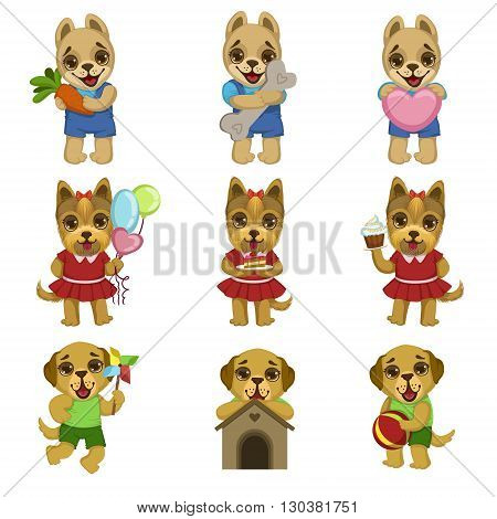 Cute Dog Cartoon Set Of Colorful Illustrations In Cute Girly Cartoon Style Isolated On White Background