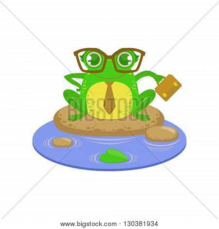 Teacher Cartoon Frog Character Flat Bright Color Vector Sticker Isolated On White Background In Simple Childish Style