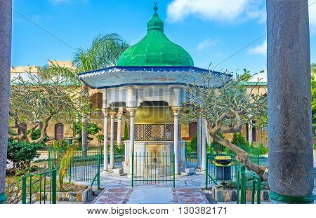 ACRE ISRAEL - FEBRUARY 20 2016: The sabilof Al-Jazzar mosque surrounded by the scenic garden on February 20 in Acre.