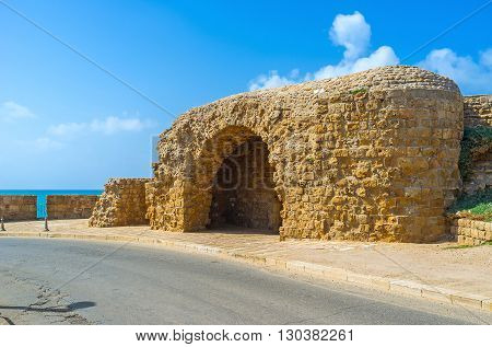 The defensive fortification on the coast of Acre Israel.