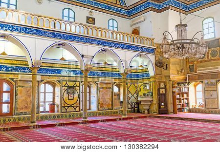 ACRE ISRAEL - FEBRUARY 20 2016: The large prayer hall of Al-Jazzar mosque decorated with the stone columns and tiles on February 20 in Acre.