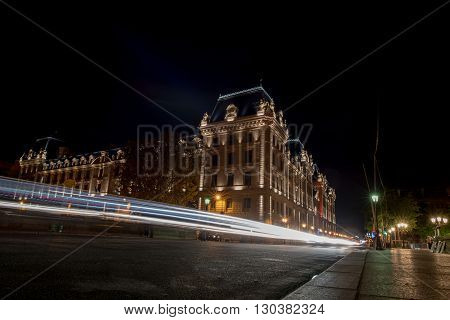 Car Light Tracks At Paris At Night