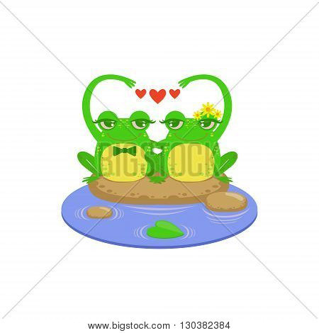 Cartoon Frog Character Couple Flat Bright Color Vector Sticker Isolated On White Background In Simple Childish Style
