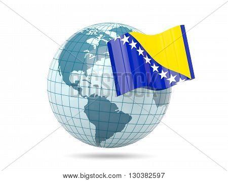 Globe With Flag Of Bosnia And Herzegovina