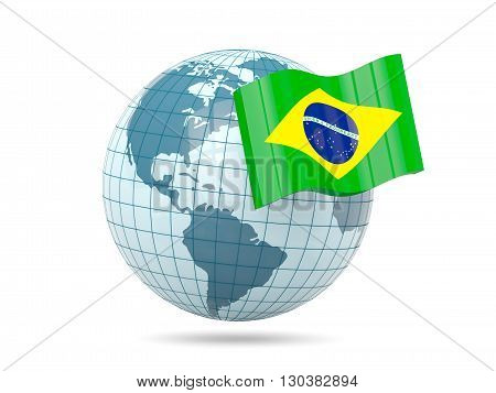 Globe With Flag Of Brazil