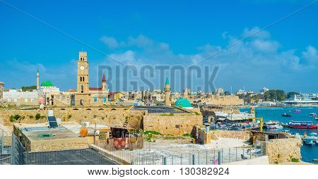 The Acre skyline with its most beautiful landmarks - mosques' domes and minarets churches' belfries and clock tower Israel.