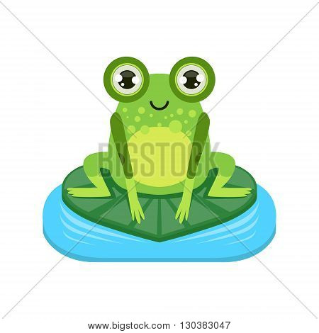 Smiling Cartoon Frog Character Flat Bright Color Vector Sticker Isolated On White Background In Simple Childish Style