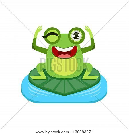 Happy Cartoon Frog Character Flat Bright Color Vector Sticker Isolated On White Background In Simple Childish Style