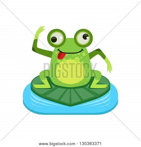 Crazy Cartoon Frog Character Flat Bright Color Vector Sticker Isolated On White Background In Simple Childish Style