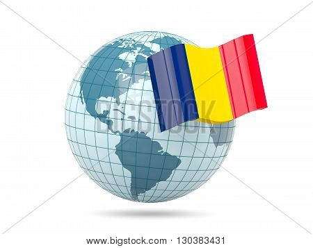 Globe With Flag Of Chad