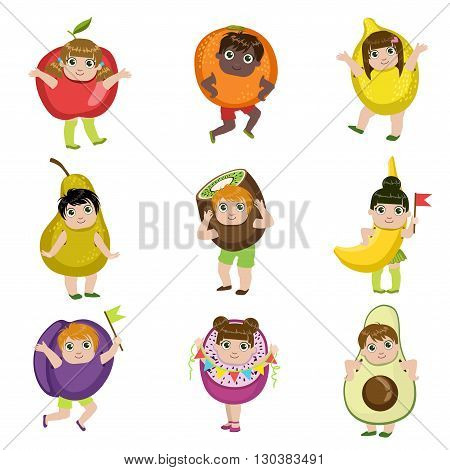 Kids Dressed As Fruits Set Of Colorful Simple Design Vector Drawings Isolated On White Background