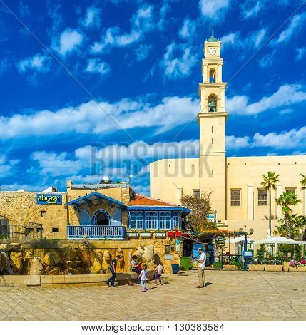 TEL AVIV ISRAEL - FEBBRUARY 25 2016: The St Peter's Franciscan church is the main landmark of Kikar Kedumim square in upper town of Jaffa on February 25 in Tel Aviv.