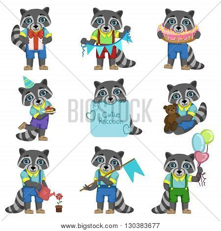 Cute Boy Raccoon Cartoon Set Of Colorful Illustrations In Cute Girly Cartoon Style Isolated On White Background