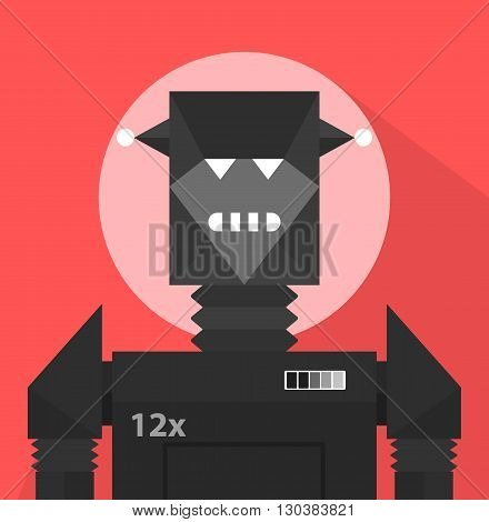 Black Evil Robot Character Portrait Icon In Weird Graphic Flat Vector Style On Bright Color Background