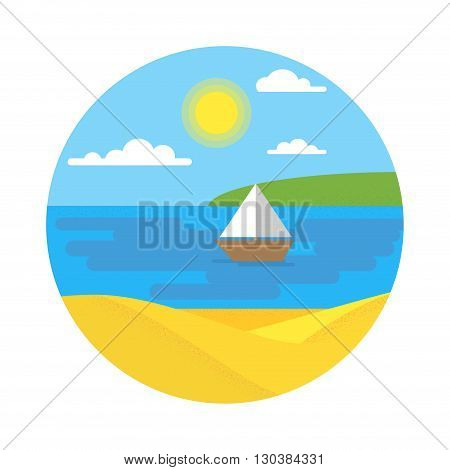 Flat summer vector landscape. Travel and sailing concept template with sun clouds water boat yacht. Stylish trendy outdoor tourism rest vacation.