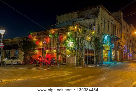 TEL AVIV ISRAEL - FEBBRUARY 25 2016: The evening Jaffa is full of colorful lights and interesting places on February 25 in Tel Aviv.
