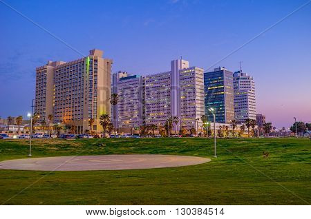 TEL AVIV ISRAEL - FEBBRUARY 25 2016: The scenic Charles Clore Park separates the modern city from the central beach on February 25 in Tel Aviv.