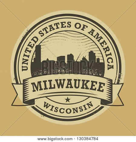 Grunge rubber stamp or label with name of Milwaukee, Wisconsin, vector illustration