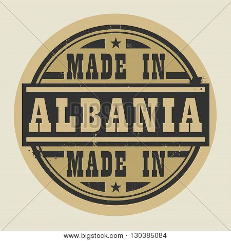 Abstract stamp or label with text Made in Albania, vector illustration