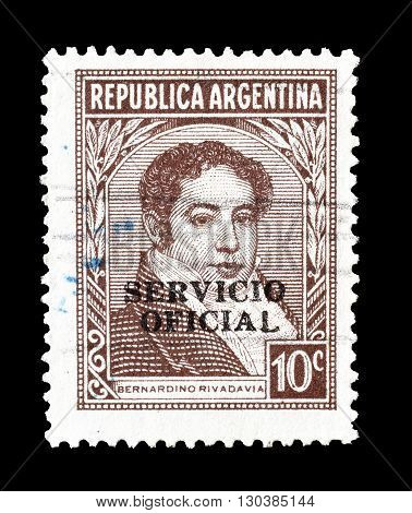 ARGENTINA - CIRCA 1939 : Cancelled postage stamp printed by Argentina, that shows Bernardino Rivadavia.
