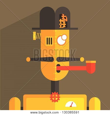 English Gentleman Robot Character Portrait Icon In Weird Graphic Flat Vector Style On Bright Color Background