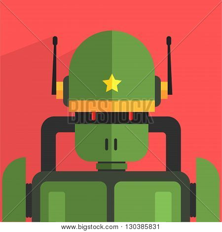 Soldier Robot Character Portrait Icon In Weird Graphic Flat Vector Style On Bright Color Background