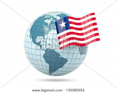Globe With Flag Of Liberia